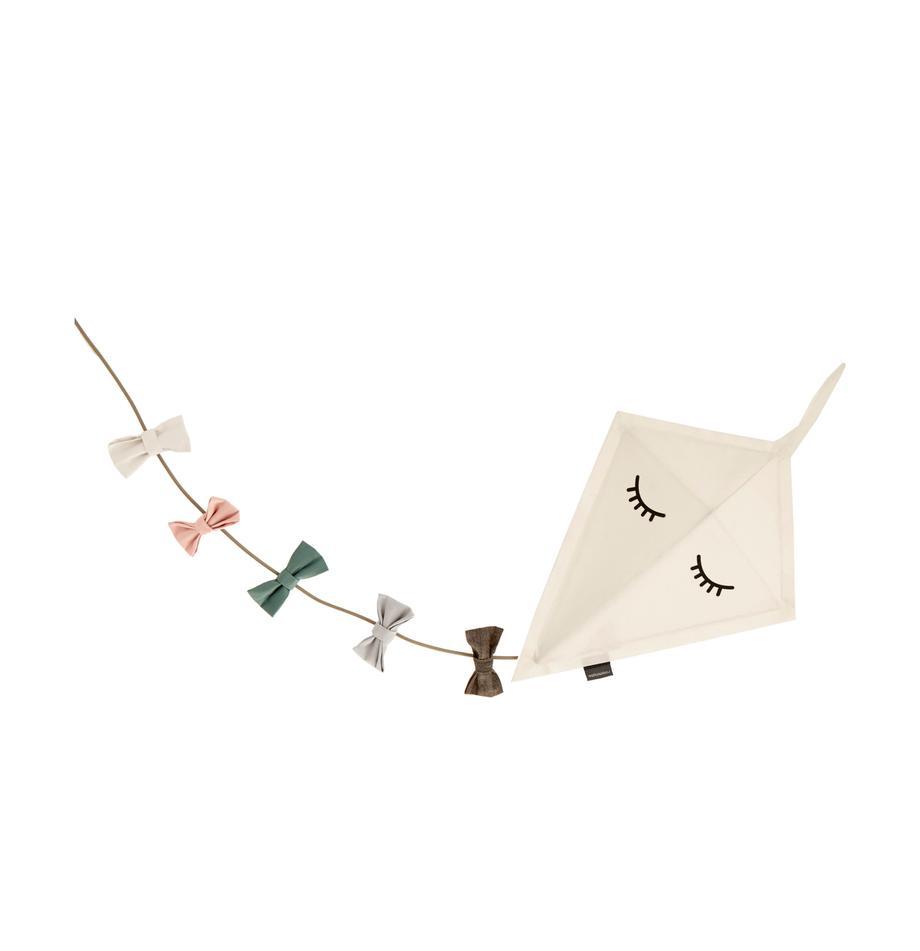 Wandleuchte Kite mit Stecker, Bezug: Filz, Dekor: Baumwolle, Gestell: Metall, pulverbeschichtet, Weiss, Mehrfarbig, 40 x 52 cm