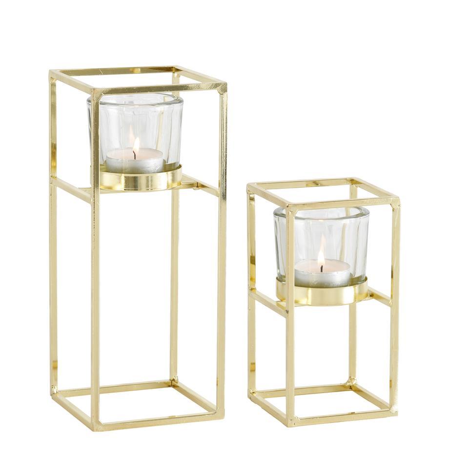 Teelichthalter-Set Tonia, 2-tlg., Windlicht: Glas, Gestell: Metall, beschichtet, Transparent, Messingfarben, Set mit verschiedenen Grössen