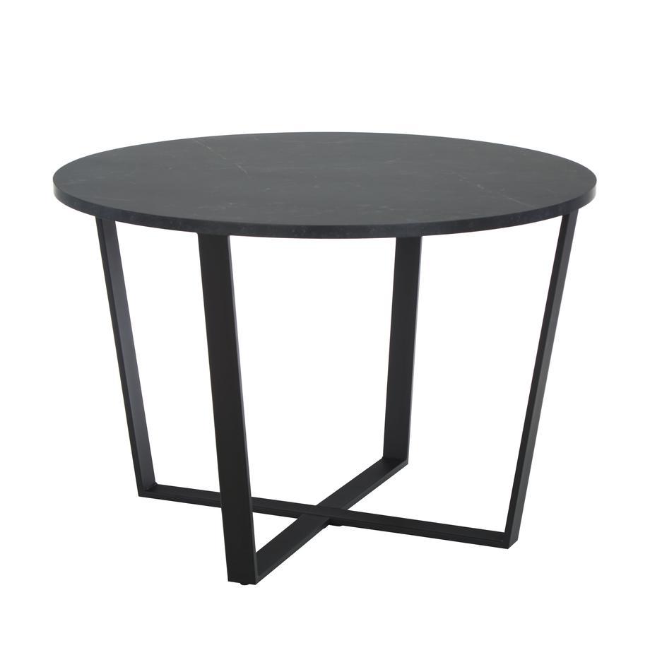 Mesa de comedor en aspecto mármol Amble, Tablero: tablero de fibras de dens, Patas: metal con pintura en polv, Negro, Ø 110 x Al 75 cm