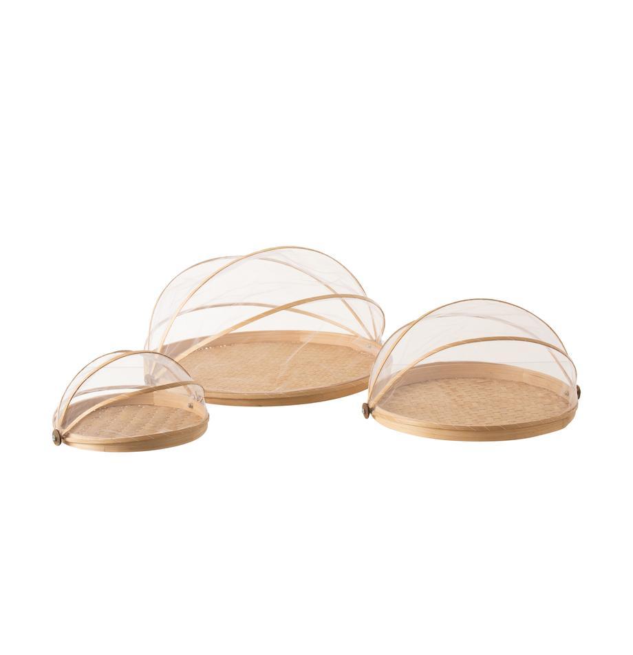 Serveerplateausset Genso van natuurlijke vezels, 3-delig, Bamboe, riet, rotan, Rotan, Set met verschillende formaten