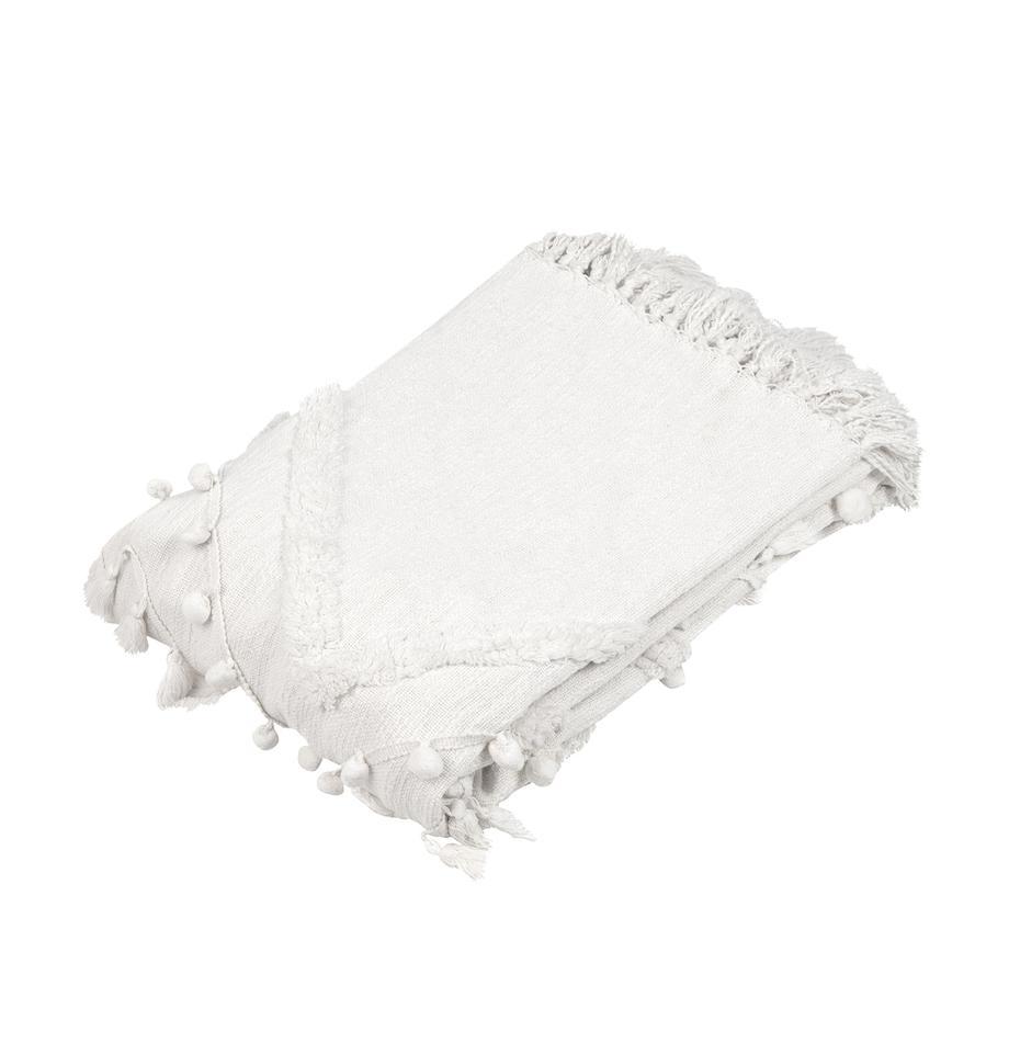 Plaid in cotone Pana, 100% cotone, Crema, Larg. 130 x Lung. 170 cm