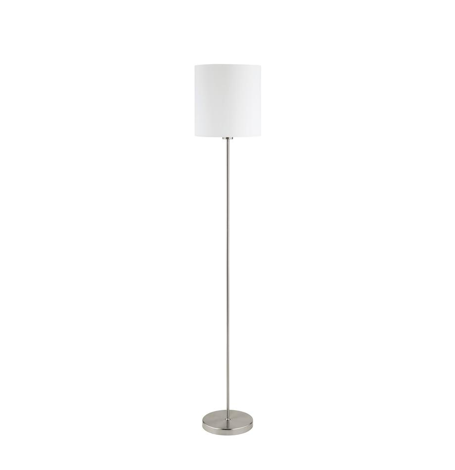 Stehlampe Mick mit Stoffschirm, Lampenschirm: Textil, Weiss,Silberfarben, Ø 28 x H 158 cm