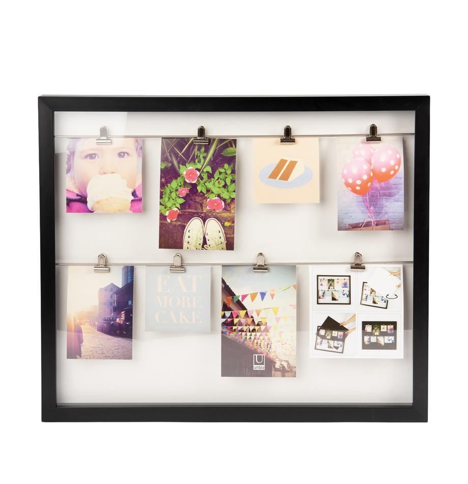 Portafoto con mollette Clipline, Materiale sintetico, Nero, 10 x 15 cm