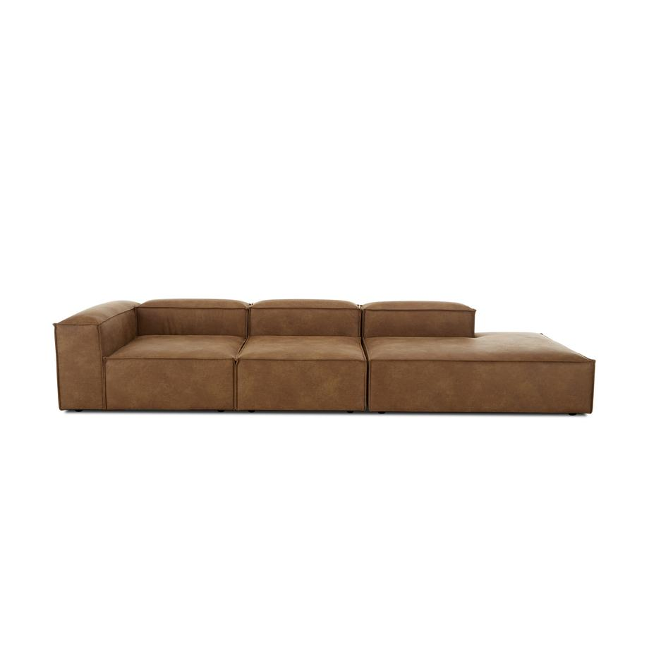 Modulaire XL chaise longue Lennon in bruin van gerecycled leer, Bekleding: gerecycled leer (70% leer, Frame: massief grenenhout, multi, Poten: kunststof, Leer bruin, B 357 x D 119 cm