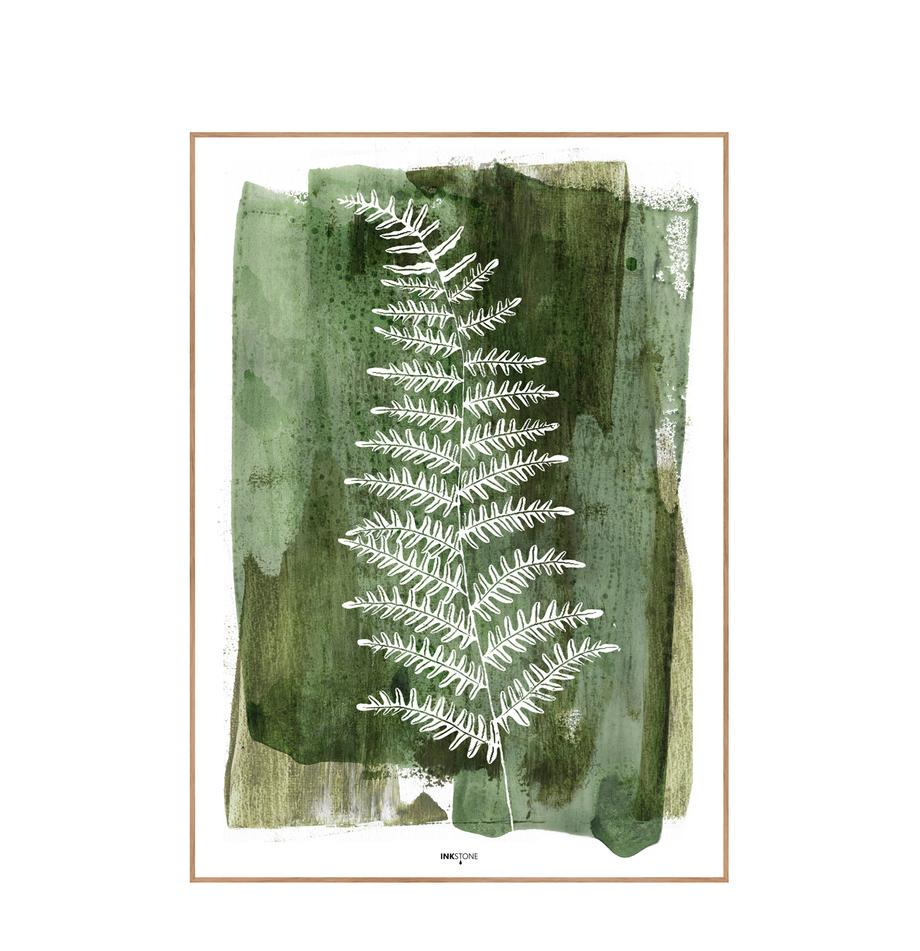 Ingelijste digitale print White Fern, Afbeelding: digitale druk op papier (, Lijst: HDF, Groen, wit, 30 x 40 cm