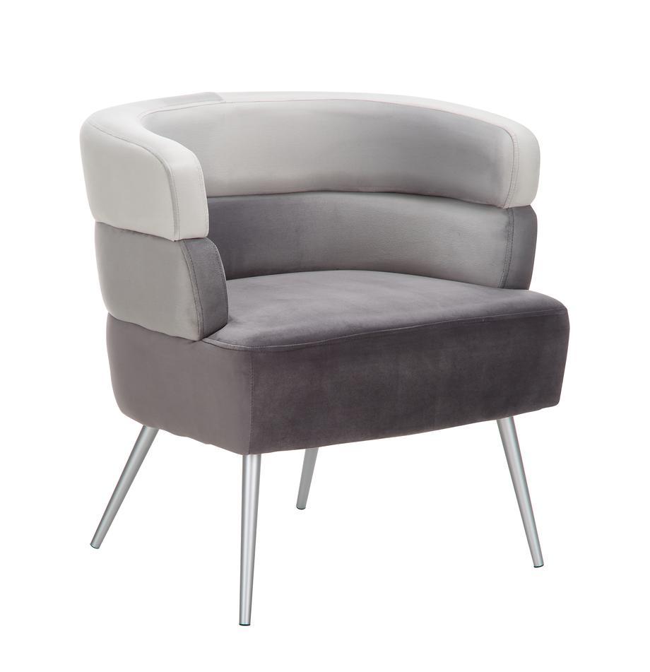 Samt-Sessel Sandwich im Retro-Design, Bezug: Polyestersamt, Beine: Metall, beschichtet, Samt Grau, B 65 x T 64 cm