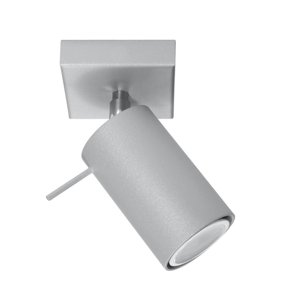 Wand- und Deckenstrahler Etna in Grau, Lampenschirm: Stahl, lackiert, Gestell: Metall, Grau, 10 x 15 cm