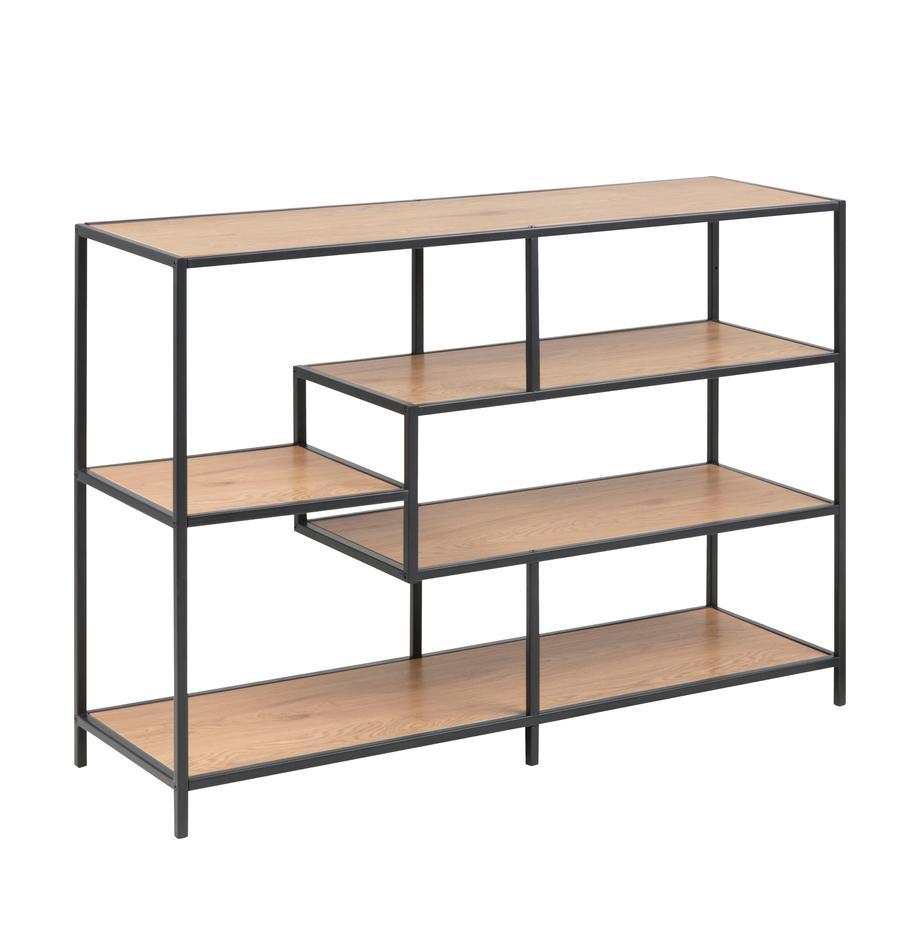 Estantería de madera y metal Seaford, Estantes: tablero de fibras de dens, Estructura: metal con pintura en polv, Roble, negro, An 114 x Al 78 cm