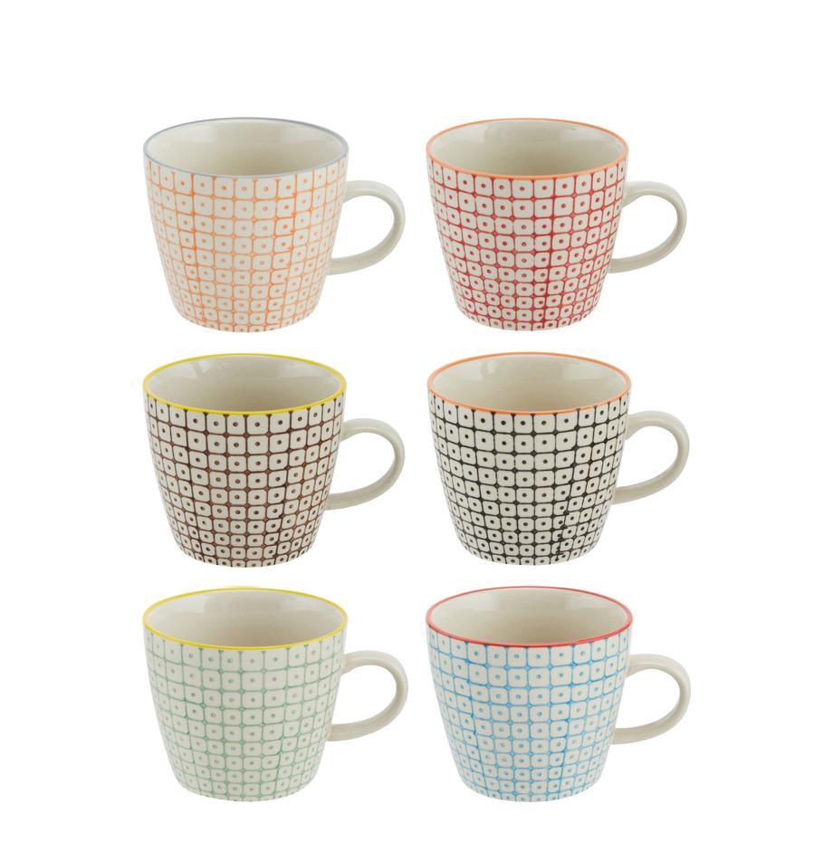 Tassen Carla mit kleinem Muster, 6er-Set, Steingut, Mehrfarbig, Ø 10 x H 8 cm