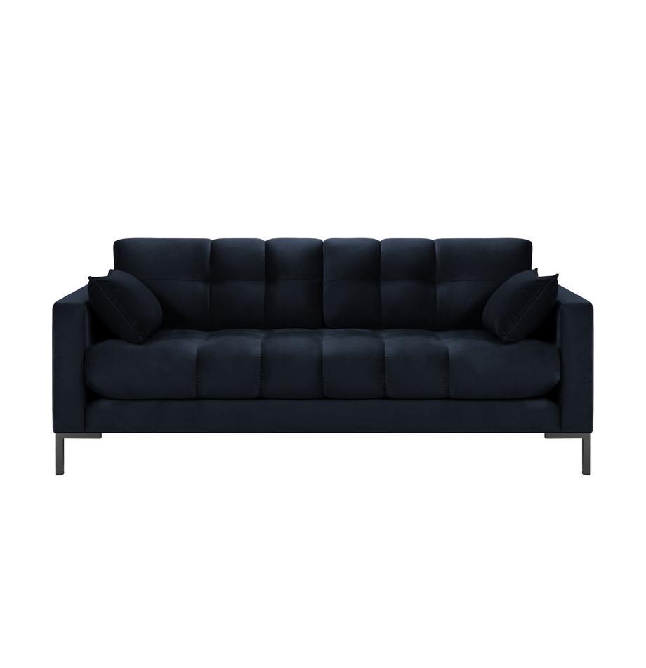 Sofa z aksamitu Mamaia (2-osobowa), Tapicerka: aksamit poliestrowy Dzięk, Stelaż: lite drewno sosnowe, skle, Nogi: metal lakierowany, Ciemnyniebieski, S 177 x G 92 cm