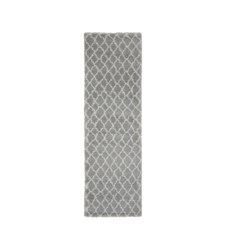 Hoogpolige loper Mona in grijs/crèmewit, Bovenzijde: 100% polypropyleen, Onderzijde: 78% jute, 14% katoen, 8% , Grijs, crèmewit, 80 x 250 cm