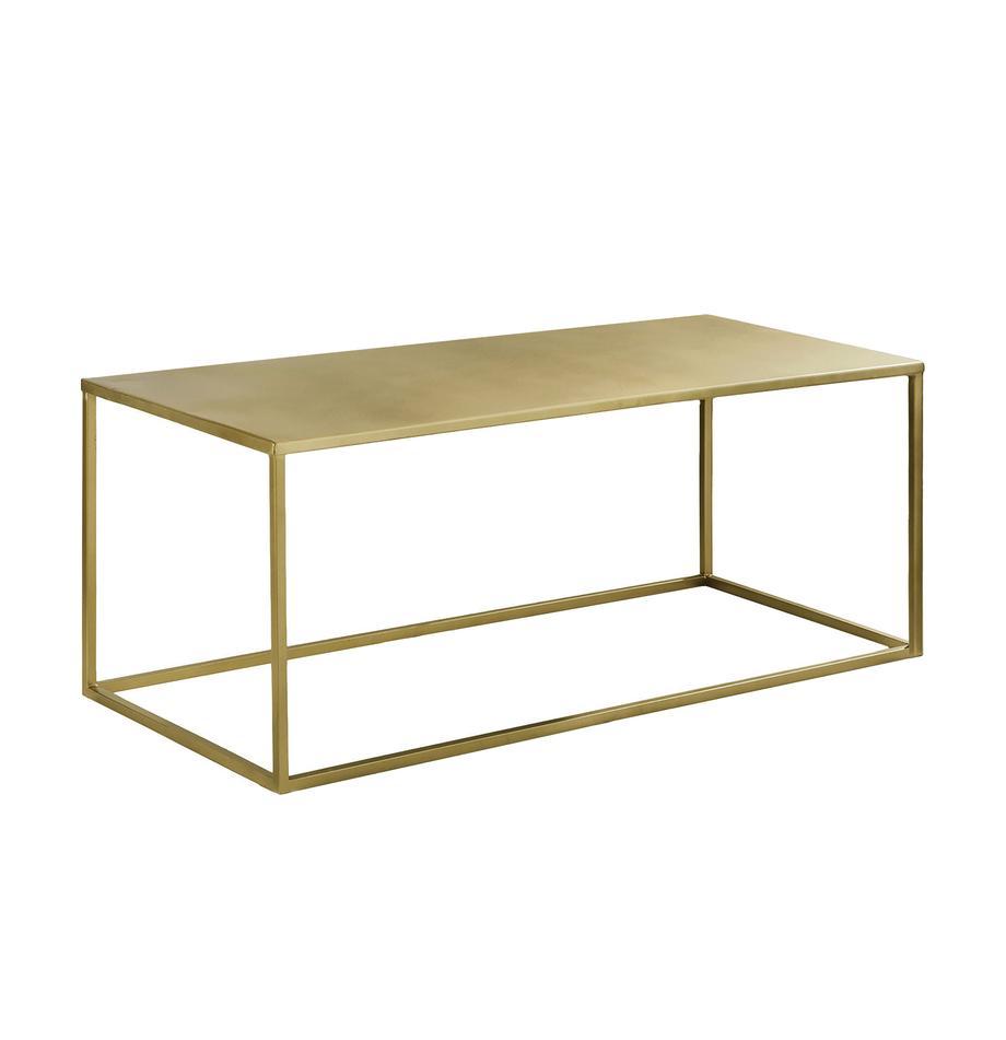 Tavolino da salotto in metallo Stina, Metallo verniciato a polvere, Dorato opaco, Larg. 90 x Alt. 45 cm
