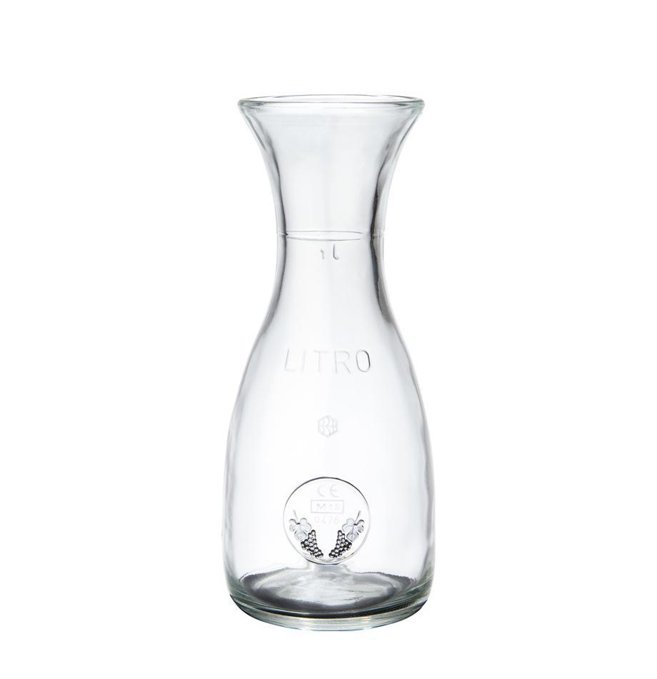 Karaf Vino met liter- en druivenopdruk, Glas, Transparant, 1 L