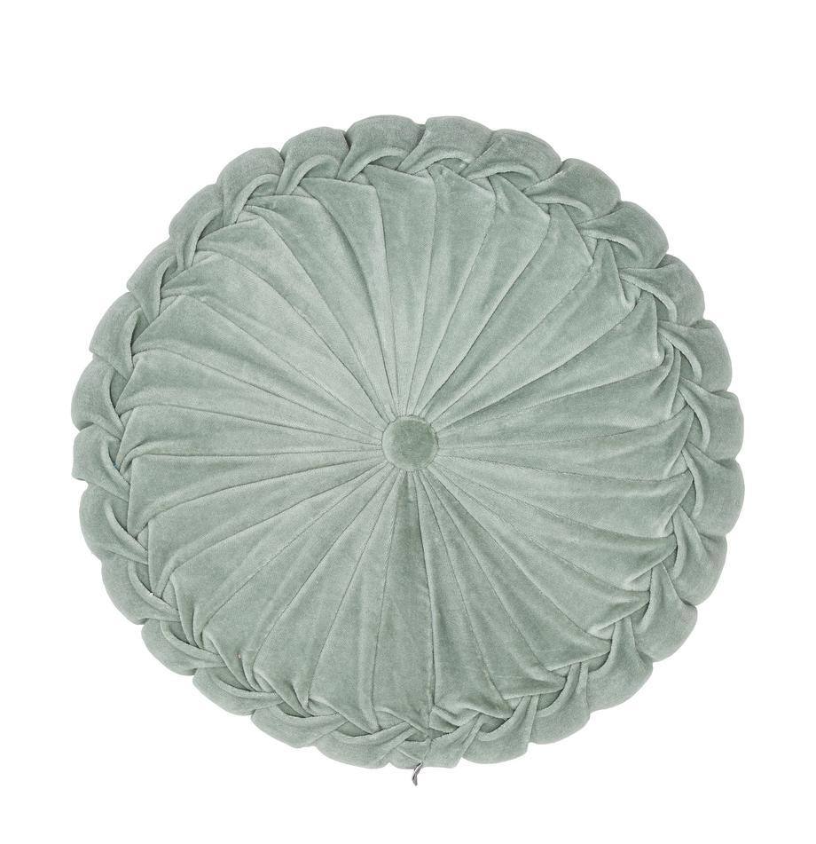 Rond fluwelen kussen Kanan met plooien, met vulling, 100% katoenfluweel, Mintgroen, Ø 40 cm