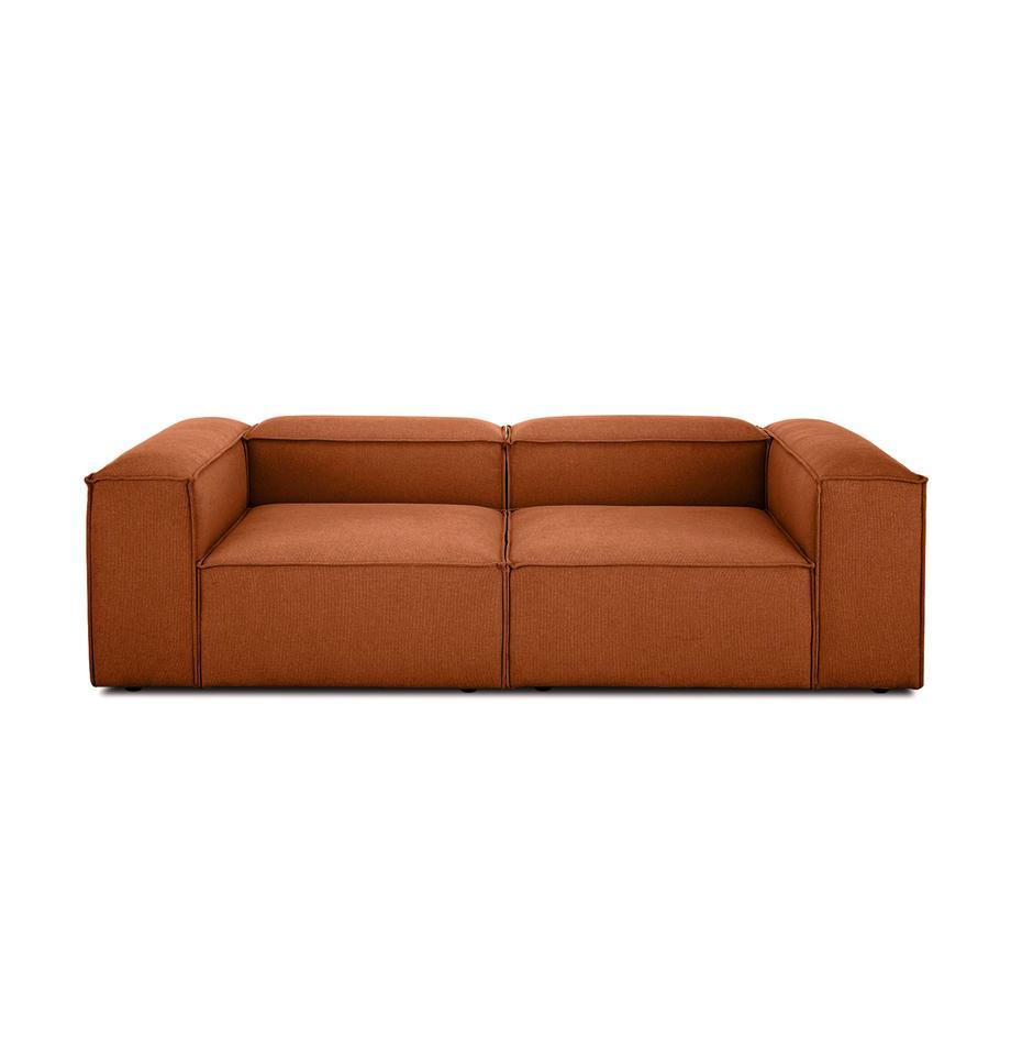 Sofa modułowa Lennon (3-osobowa), Tapicerka: poliester Dzięki tkaninie, Stelaż: lite drewno sosnowe, Stelaż: lite drewno sosnowe, skle, Nogi: tworzywo sztuczne, Terakota, S 238 x G 119 cm