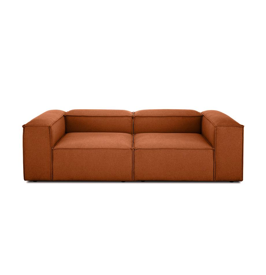 Modulares Sofa Lennon (3-Sitzer) in Terrakotta, Bezug: Polyester Der hochwertige, Gestell: Massives Kiefernholz, Spe, Füße: Kunststoff, Webstoff Terrakotta, B 238 x T 119 cm