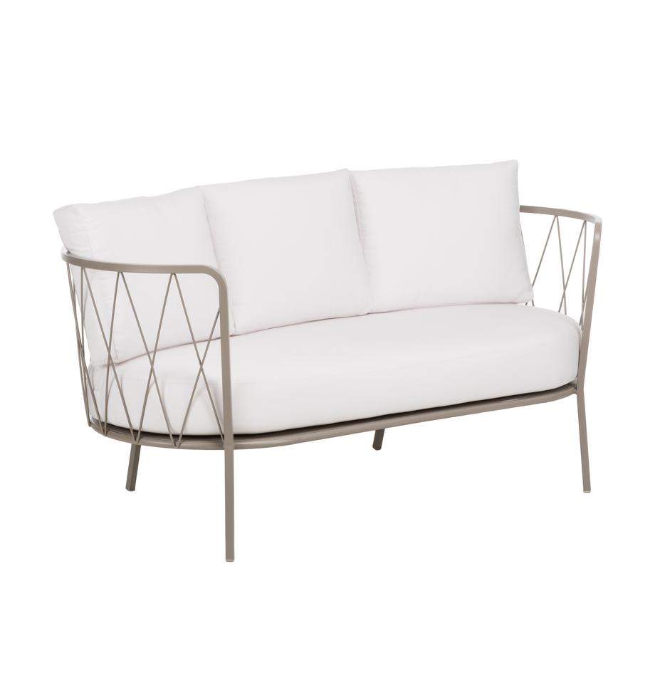 Gartensofa Sunderland mit Sitzpolster (2-Sitzer), Gestell: Stahl, galvanisch verzink, Bezug: Polyacryl, Gestell: Taupe<br>Sitz- und Rückenkissen: Creme, 162 x 73 cm
