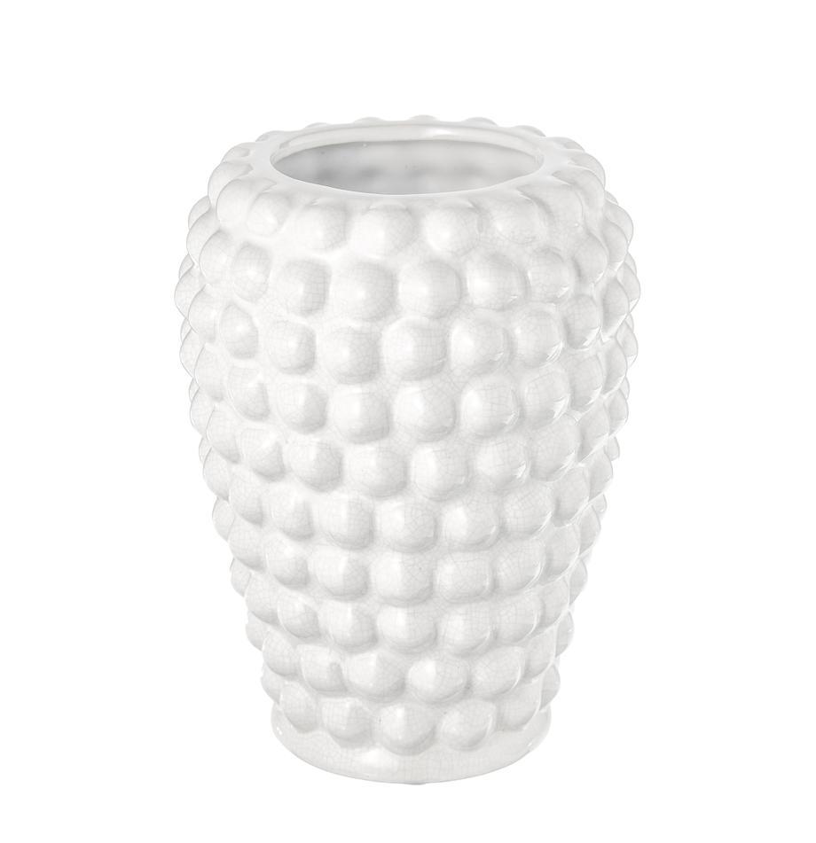 Jarrón de cerámica Dotty, Cerámica, esmaltada y no impermeable, Marfil, Ø 14 x Al 20 cm