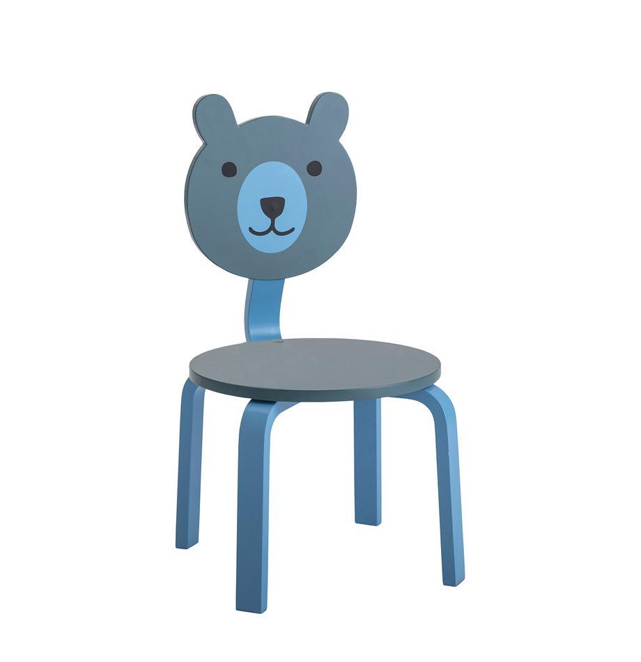 Kinderstuhl Bear, Mitteldichte Holzfaserplatte (MDF), lackiert, Blautöne, Grün, 32 x 60 cm
