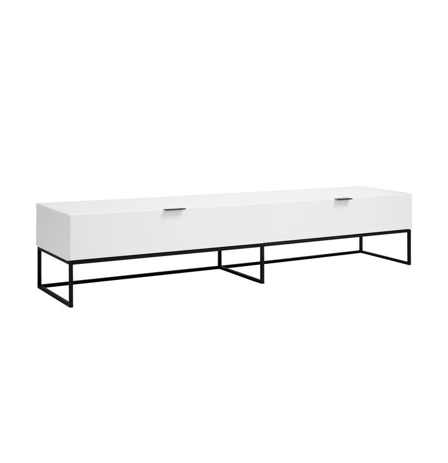 Szafka RTV z szufladami Kobe, Korpus: biały, matowy Stelaż i uchwyty: czarny, matowy, S 200 x W 40 cm