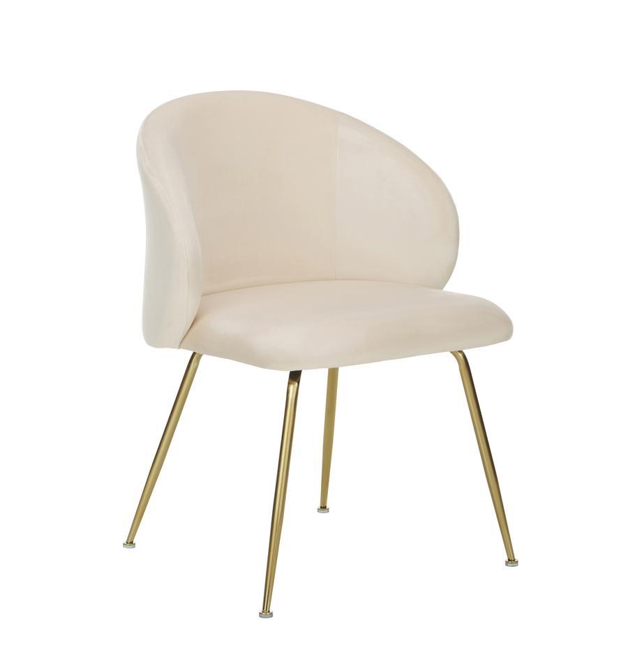 Fluwelen stoelen Luisa, 2 stuks, Bekleding: fluweel (100% polyester), Poten: gelakt metaal, Fluweel crèmewit, goudkleurig, B 61 x D 58 cm