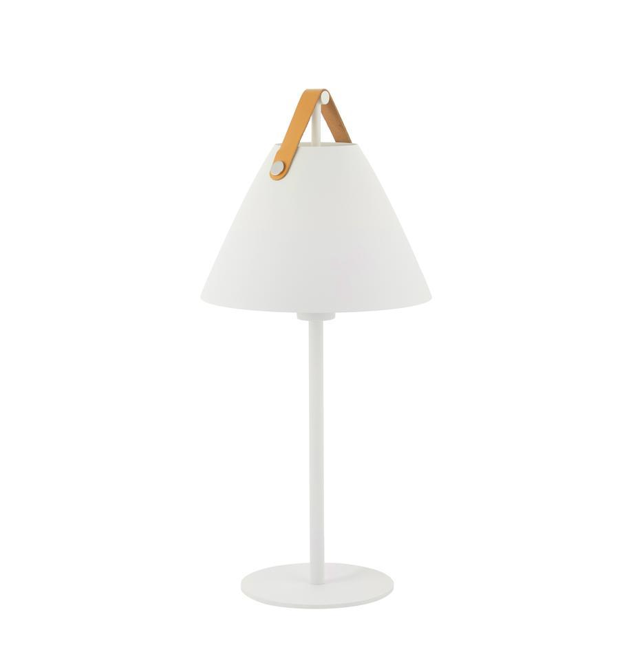 Grosse Tischlampe Strap mit austauschbarem Lederband, Lampenschirm: Messing, pulverbeschichte, Dekor: Rindsleder, Weiss, Ø 25 x H 55 cm