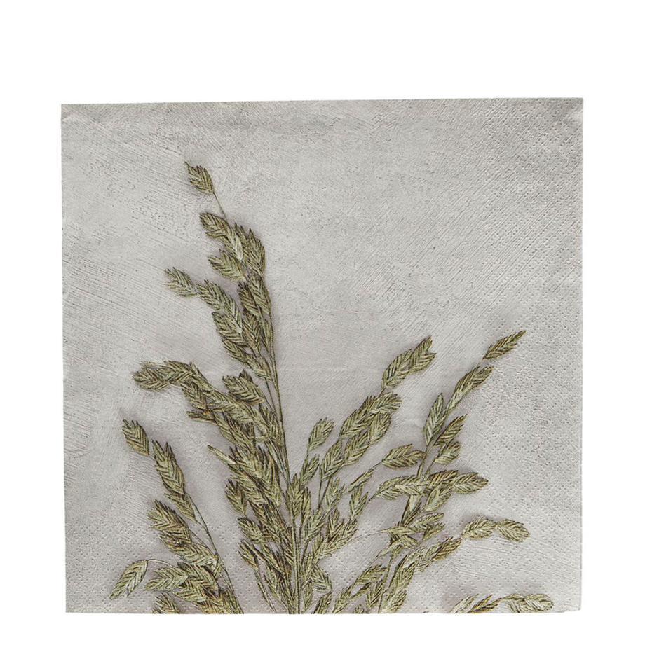 Papier-Servietten Grass, 40 Stück, Papier, Hellgrau, Grün, 20 x 20 cm