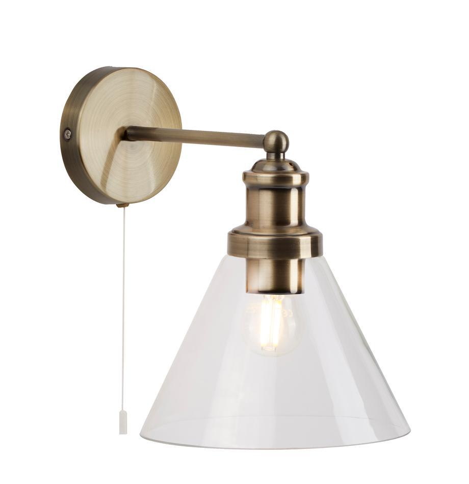Applique con paralume in vetro Pyramid, Paralume: vetro, Struttura: metallo ottonato, Interruttore: materiale sintetico, Ottone trasparente, Larg. 19 x Alt. 25 cm