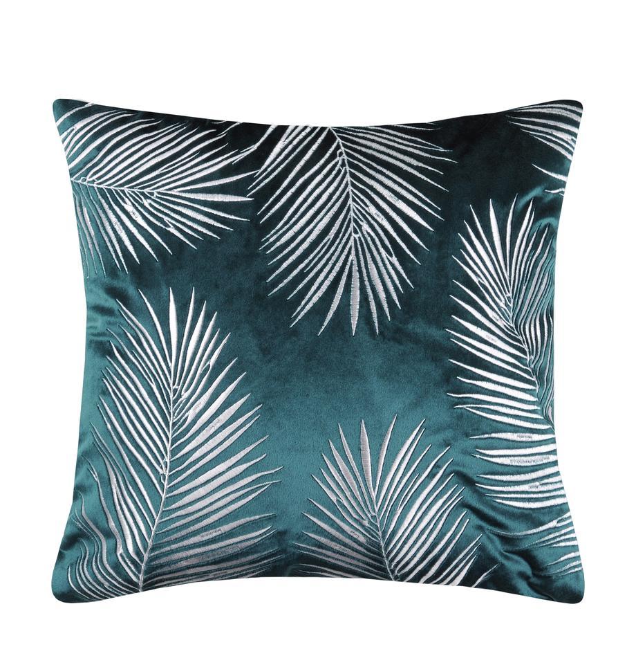 Schimmernde Samt-Kissenhülle Ibarra mit Palmenblatt Stickerei, 100% Polyester, Petrolblau, Weiß, 45 x 45 cm