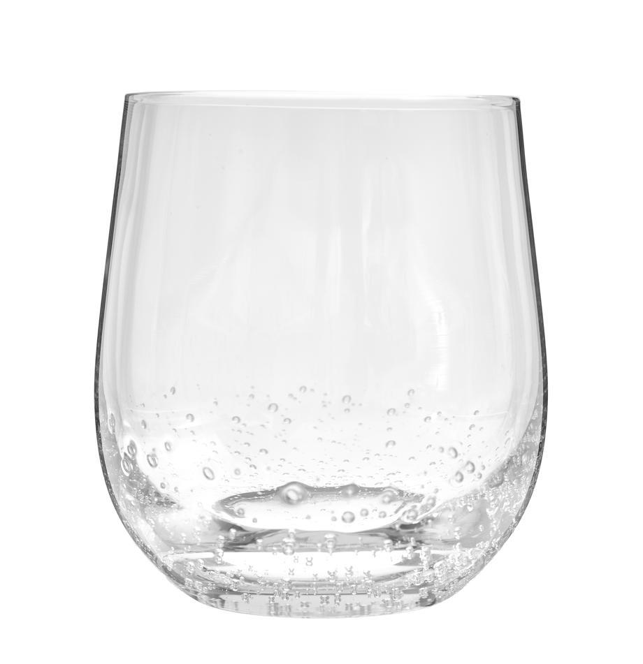 Bicchiere acqua in vetro soffiato Bubble 4 pz, Vetro soffiato, Trasparente con bolle d'aria, Ø 9 x Alt. 10 cm