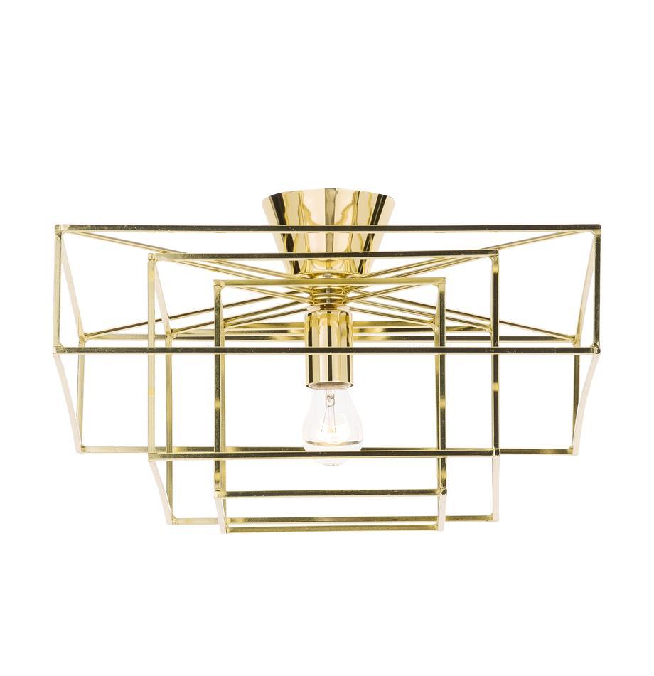 Plafoniera dorata Cube, Ottone verniciato, Dorato, Lar. 46 x  Alt. 27 cm