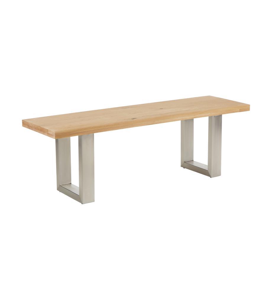 Panca in legno di quercia Oliver, Seduta: doghe di quercia selvatic, Gambe: metallo verniciato, Quercia selvatica, Larg. 140 x Alt. 45 cm