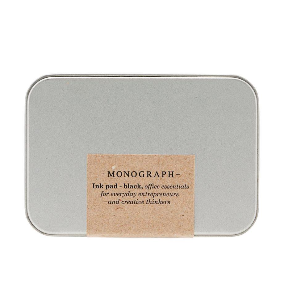 Stempelkissen Plamm, Box: Metall, Metall, Schwarz, 9 x 2 cm