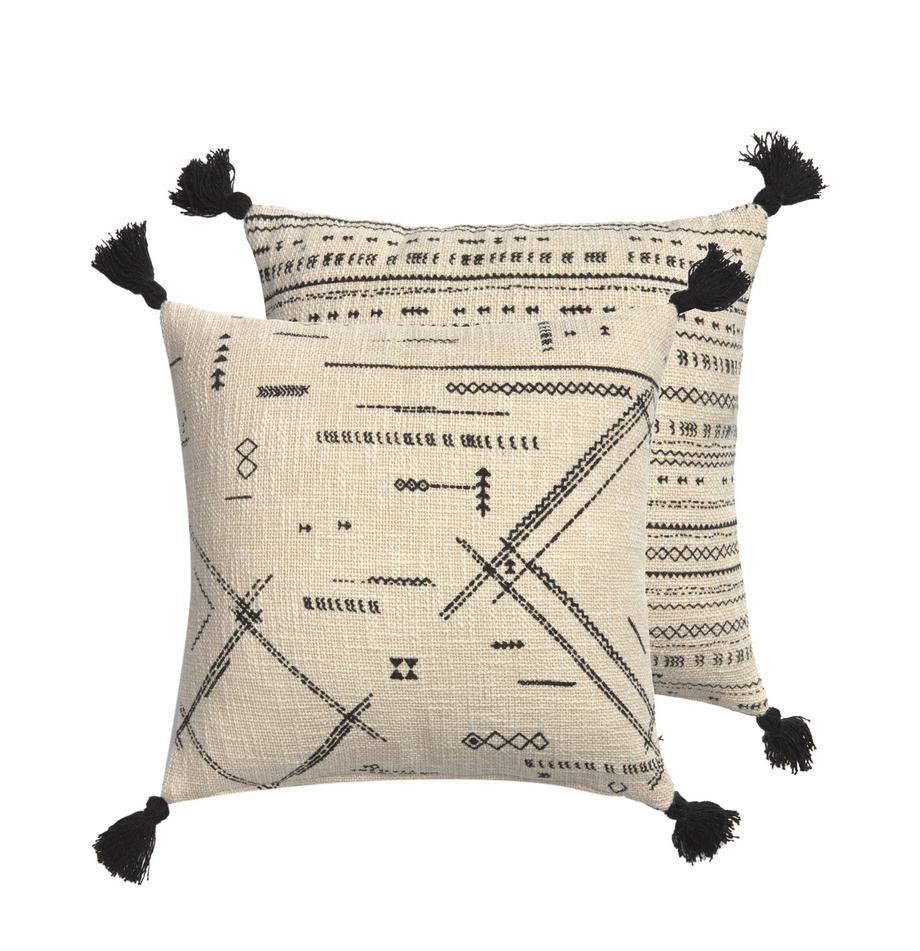 Boho Wendekissenhülle Kertes mit Quasten, 100% Baumwolle, Schwarz, 45 x 45 cm