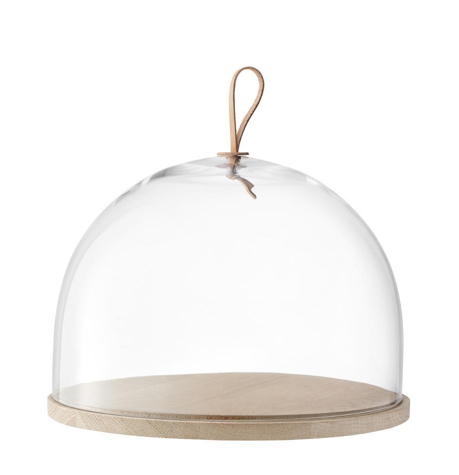 Mundgeblasene Cloche Ivalo, Ø 32 cm, Glocke: Glas, Platte: Eschenholz, Henkel: Leder, Transparent, Braun, Ø 32 x H 23 cm