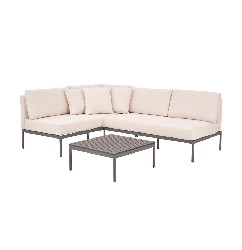 Tuin loungeset Linden, 2-delig in beige, Bekleding: 100% polyester, Frame: gepoedercoat metaal, Tafelblad: hout-kunststof-compositie, Frame: gepoedercoat metaal, Grijs, beige, Set met verschillende formaten