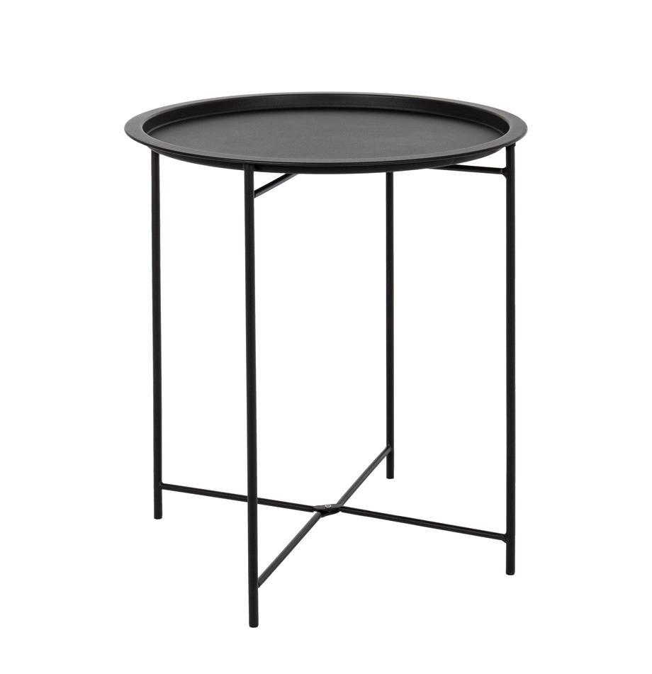 Tavolino da giardino in metallo Wissant, Acciaio verniciato a polvere, Nero, Ø 46 x Alt. 52 cm
