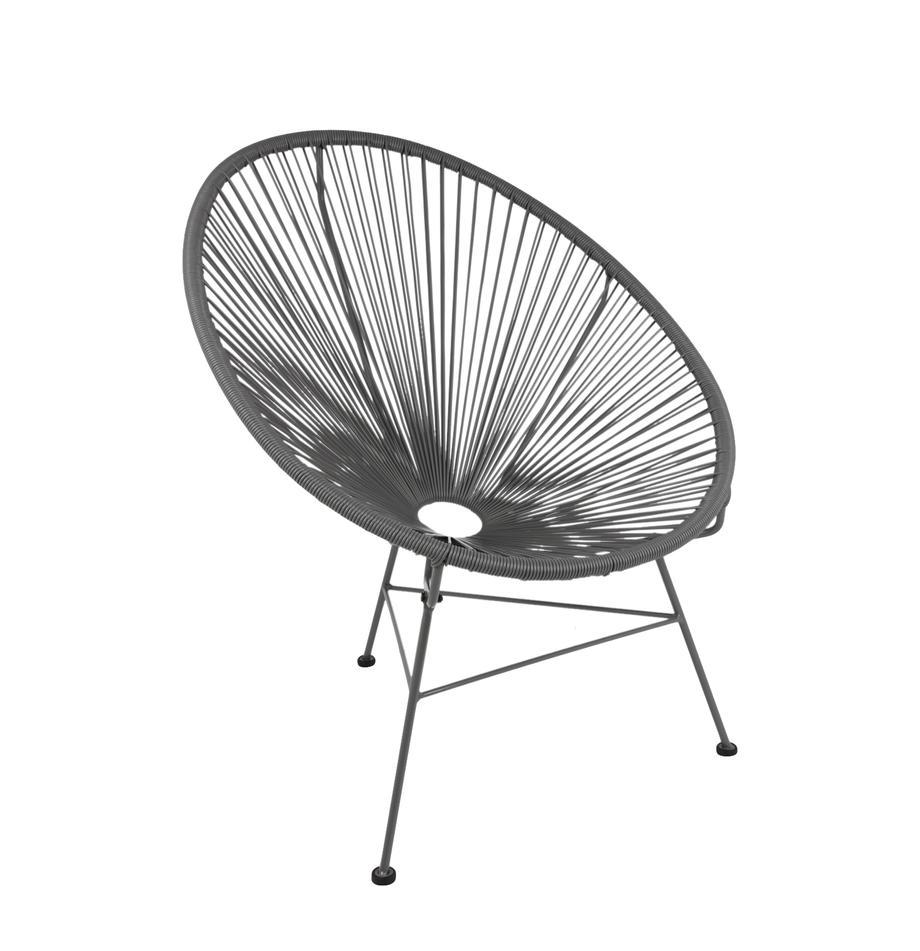 Loungesessel Bahia aus Kunststoff-Geflecht, Sitzfläche: Kunststoff, Gestell: Metall, pulverbeschichtet, Kunststoff: Grau. Gestell: Grau, B 81 x T 73 cm
