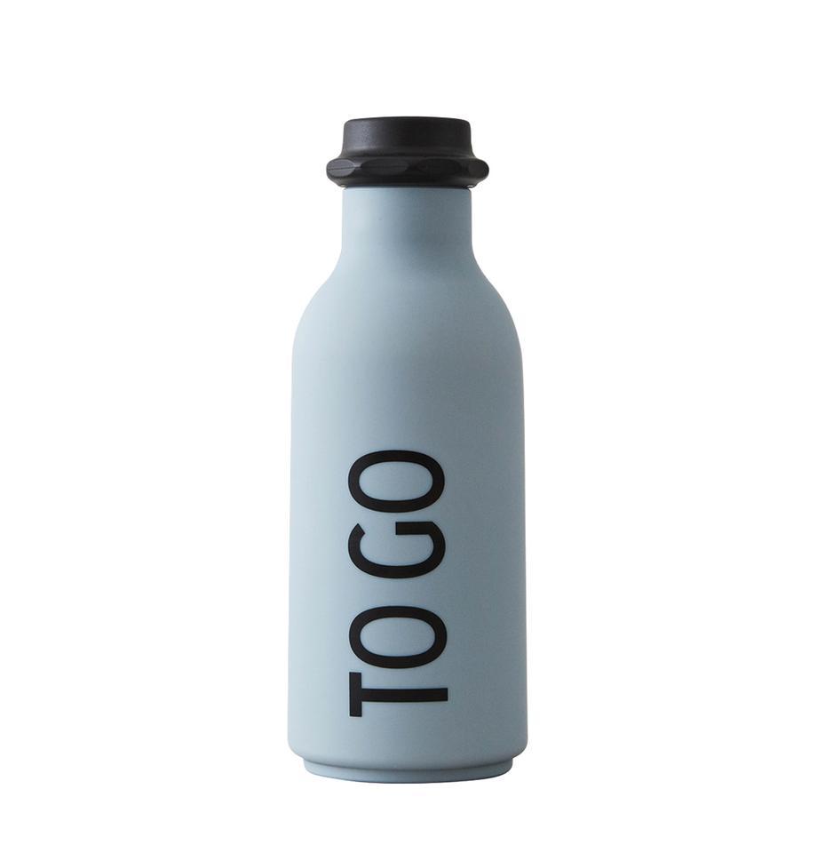 Design Isolierflasche TO GO in Blau mit Schriftzug, Flasche: Tritan (Kunststoff), BPA-, Hellblau matt, Schwarz, Ø 8 x H 20 cm