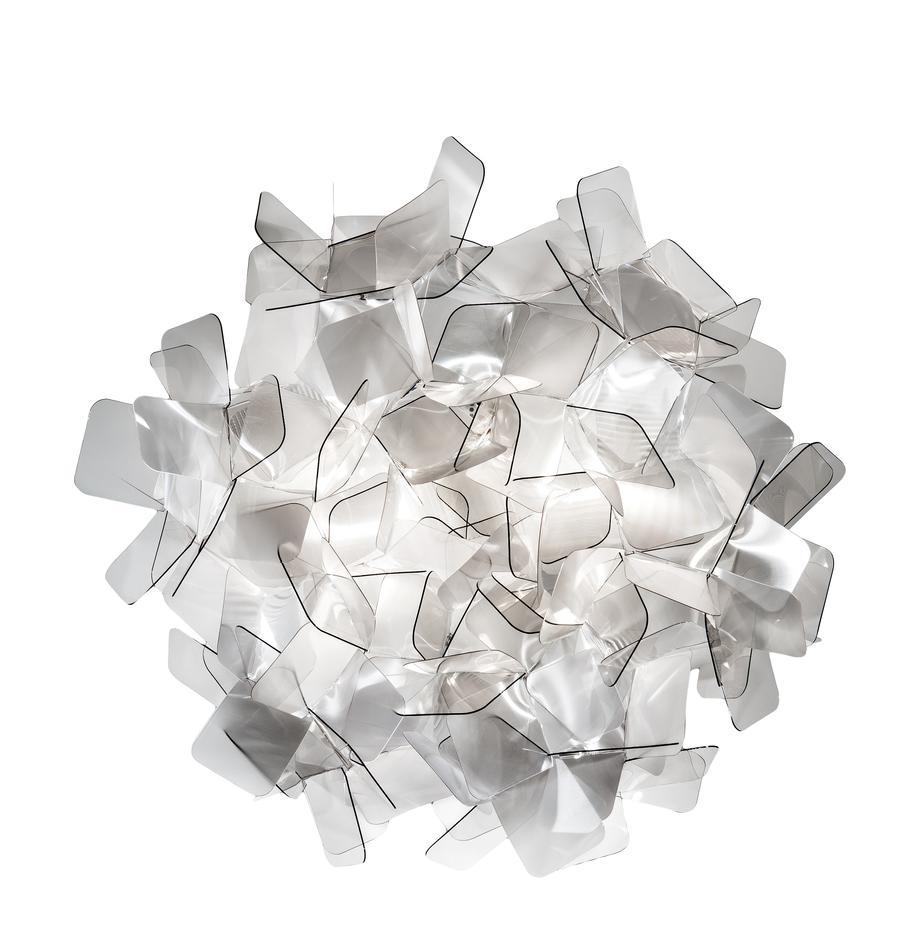 Lampa sufitowa z tworzywa sztucznego Clizia, Technopolymere Lentiflex®, odbijający światło i Cristalflex®, nietłukący się, elastyczny, Jasny szary, transparentny, Ø 53 x W 20 cm