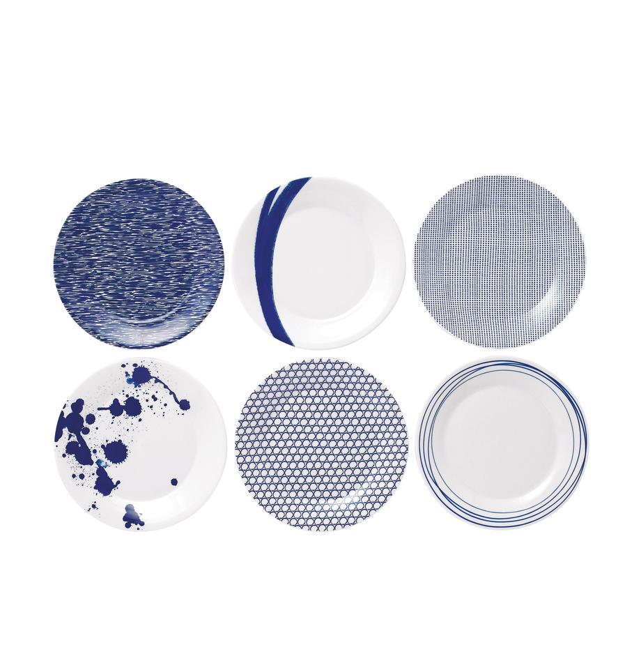 Piattino da dessert in porcellana Pacific 6 pz, Porcellana, Bianco, blu, Ø 23 cm