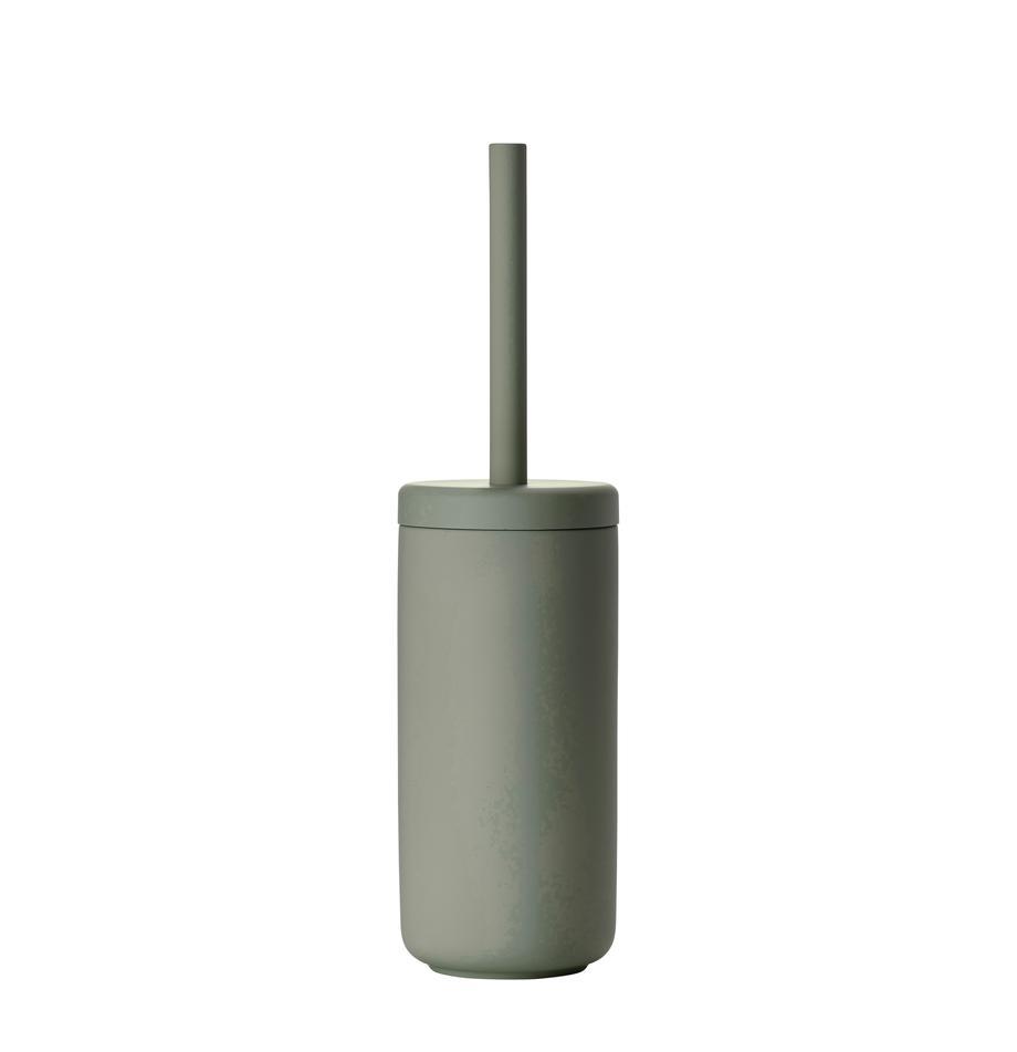 WC-borstel Ume, Houder: keramiek overtrokken met , Eucalyptusgroen, Ø 10 x H 39 cm