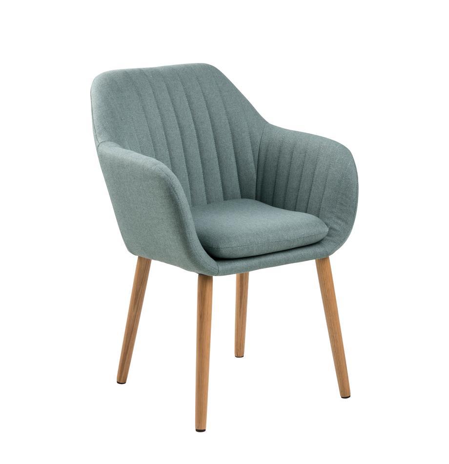 Krzesło tapicerowane z podłokietnikami Emilia, Tapicerka: poliester, Nogi: drewno dębowe, olejowane , Oliwkowy zielony, S 57 x G 59 cm