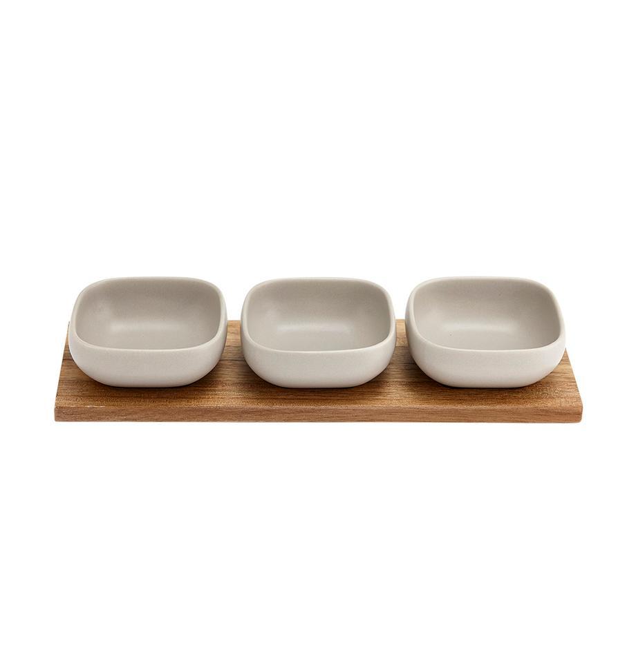 Dipschälchen Essentials aus Porzellan und Akazienholz, 4er-Set, Schälchen: Porzellan, Tablett: Akazienholz, Beige, Akazienholz, Set mit verschiedenen Grössen