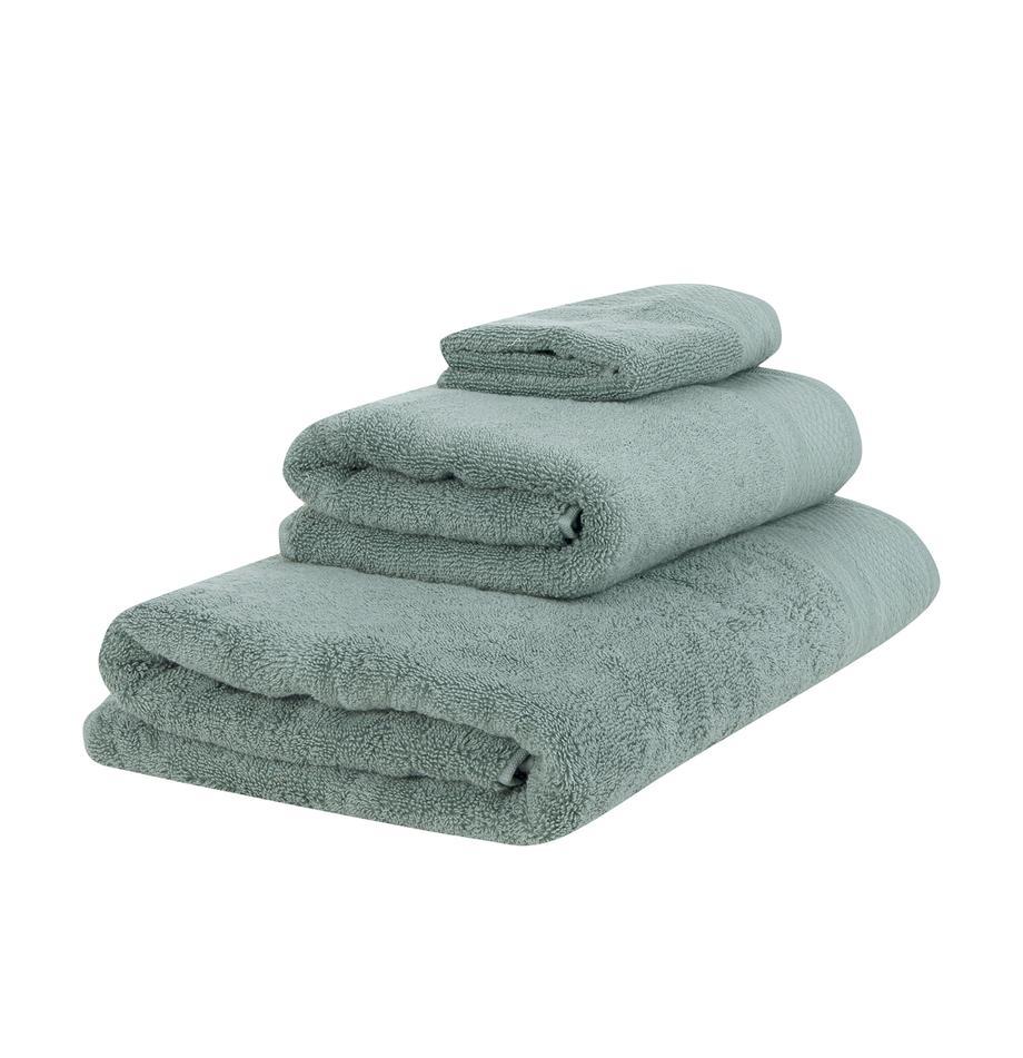 Set 3 asciugamani Premium, Verde, Set in varie misure