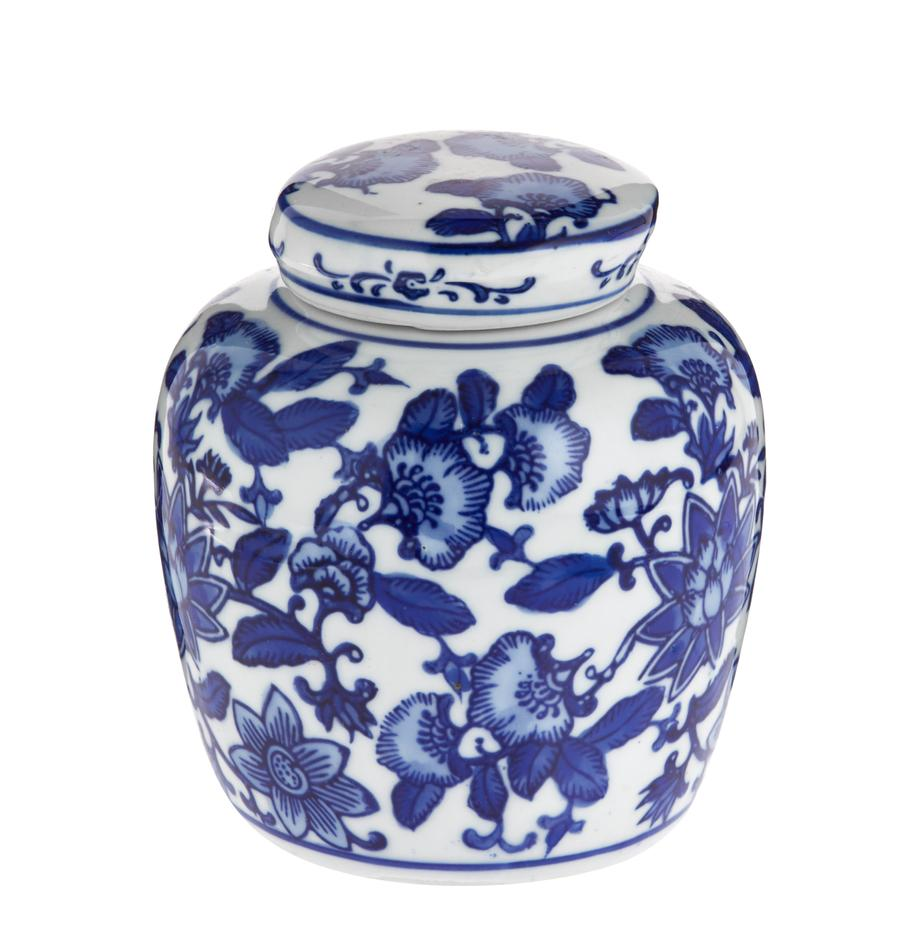Vaso con coperchio in porcellana Annabelle, Porcellana, Blu, bianco, Ø 11 x Alt. 13 cm