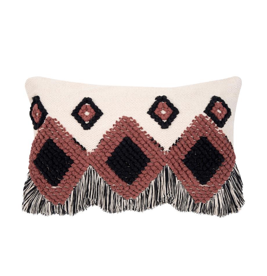 Poszewka na poduszkę Tanea, 100% bawełna, Ecru, czarny, rudy, S 40 x D 60 cm