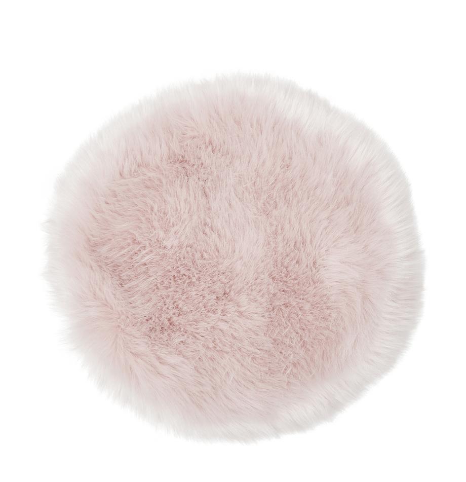 Okrągła nakładka na siedzisko ze sztucznego futra Mathilde, Blady różowy, Ø 37 cm