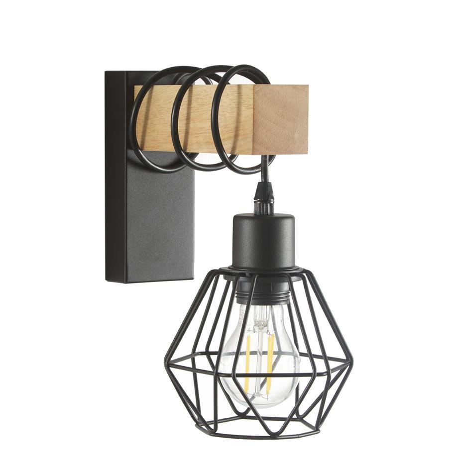 Aplique Townshend, estilo industrial, Pantalla: metal recubierto, Estructura: madera, Cable: plástico, Negro, madera, An 14 x Al 25 cm