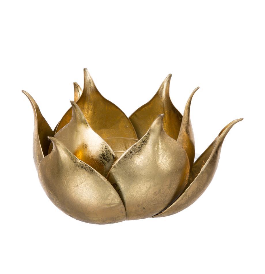 Teelichthalter Conla, Metall, beschichtet, Goldfarben, glänzend, Ø 20 x H 11 cm